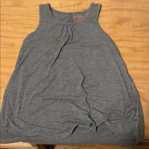 Gray open back tank top with polka dot design
